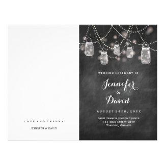 Rustic Mason Jars and Fireflies Wedding Programs