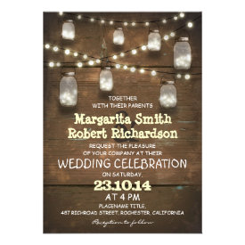 rustic mason jars and light wedding invitations personalized invitations
