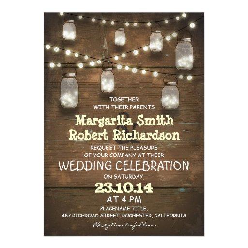 "rustic mason jars and light wedding invitations 5"" x 7"" invitation ..."