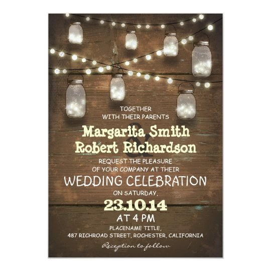 rustic mason jars and light wedding invitations  zazzle, Wedding invitations