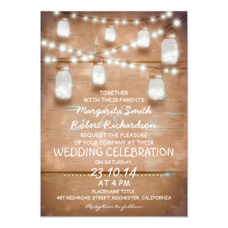 "rustic mason jars and light wedding invitations 5"" x 7"" invitation card"