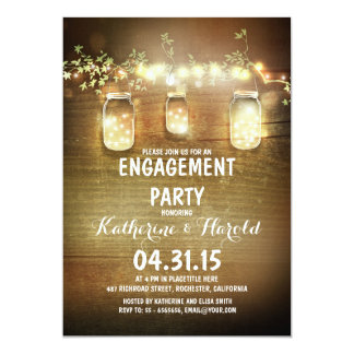 rustic mason jars and lights engagement party card