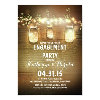 rustic mason jars and lights engagement party invitation