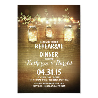 rustic mason jars and lights rehearsal dinner card