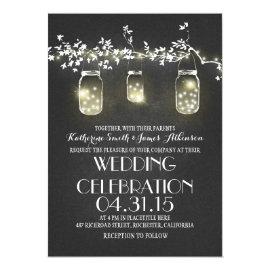 rustic mason jars and lights wedding invitations 5