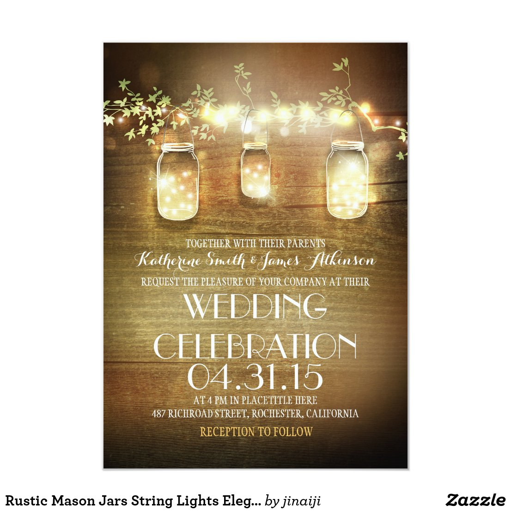 rustic mason jars and string lights wedding