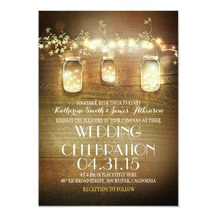Rustic Mason Jars And String Lights Wedding Card at Zazzle