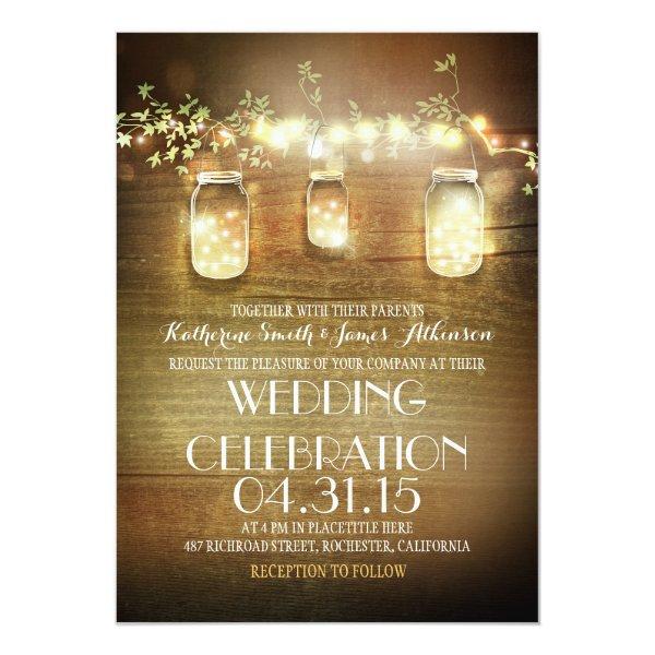 rustic mason jars and string lights wedding card
