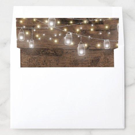 Rustic Mason Jars and String Lights Wedding Envelope Liner