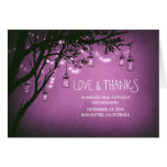 rustic mason jars and twinkle lights thank you greeting card