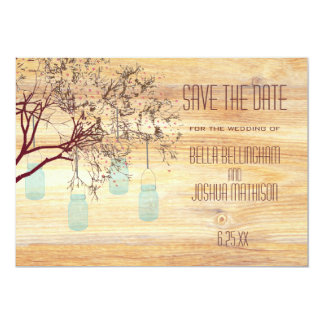 Rustic Mason Jars in a Tree Save the Date Card