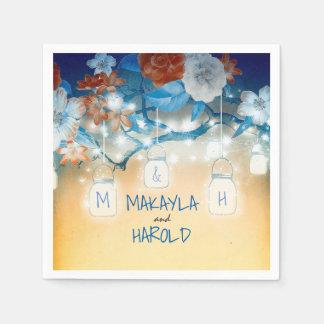 Rustic Mason Jars Lights Floral Tree Navy Wedding Paper Napkin