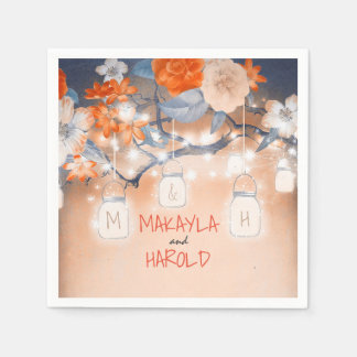 Rustic Mason Jars Lights Floral Tree Wedding Paper Napkin
