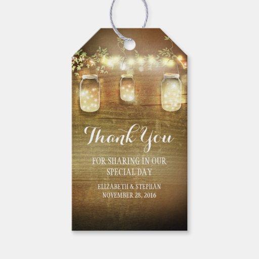 Rustic Wedding Gift Tags : Rustic Mason Jars Lights Wedding Thank You Gift Tags Zazzle