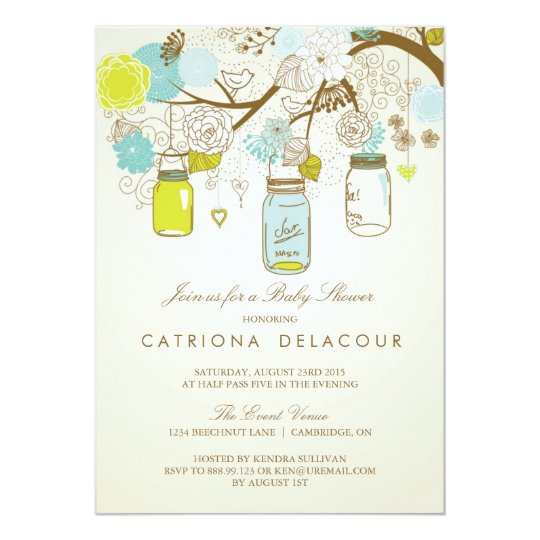 Rustic mason jars spring baby shower invitation zazzle rustic mason jars spring baby shower invitation filmwisefo