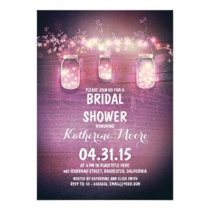 rustic mason jars & string lights bridal shower invite
