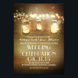 """Rustic Mason Jars String Lights Elegant Wedding Card<br><div class=""""desc"""">Rustic mason jars wedding invitation for summer,  fall,  spring or winter wedding! Perfect design for the country wedding with mason jars lighting and strings of lights decor. -- All design elements created by Jinaiji.</div>"""