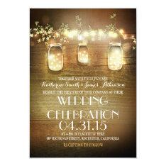 Rustic Mason Jars String Lights Elegant Wedding Card at Zazzle