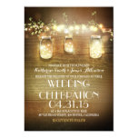Rustic Mason Jars String Lights Elegant Wedding Invitation