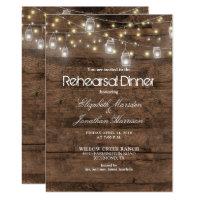 Rustic Mason Jars String Lights Rehearsal Dinner Invitation