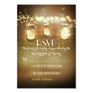 rustic mason jars string lights wedding RSVP cards at Zazzle