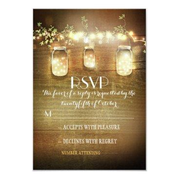 jinaiji rustic mason jars string lights wedding RSVP cards