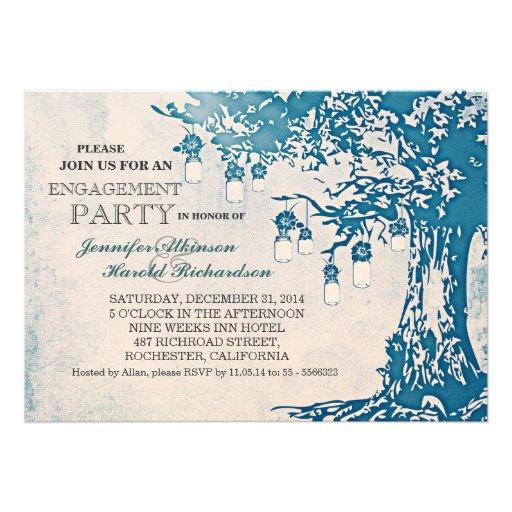 Rustic mason jars tree engagement party invitation