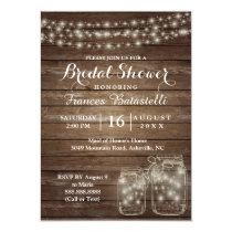 Rustic Mason Jars Wedding Bridal Shower Invitation