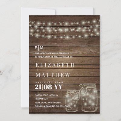 Rustic Mason Jars Wedding Invitation