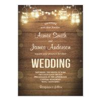 Rustic Mason Jars Wedding Invitation String Lights