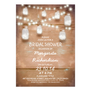 rustic mason jars with lights bridal shower invite
