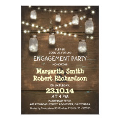 rustic mason jars with lights engagement party personalized announcements