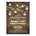 rustic mason jars with lights engagement party 5x7 paper invitation card