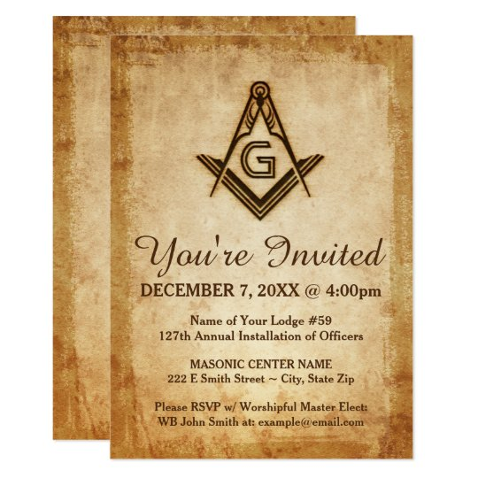 Rustic Masonic Invitations Freemason Parchment Zazzlecom