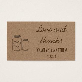 Rustic Masonjar Heart Wedding Love & Thanks Insert