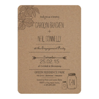 Rustic Masonjar | Leaves | Heart Engagement Party 5x7 Paper Invitation Card
