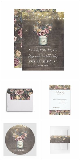 Rustic Mauve and Gold Floral Mason Jar Wedding Invitation Set