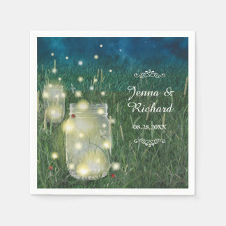 Rustic Meadow Summer Night Mason Jar and Fireflies Paper Napkin