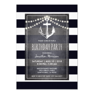 Rustic Men's Nautical Birthday Party Card