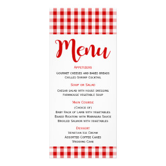 Rustic Menu Red White Gingham Check Wedding, Party