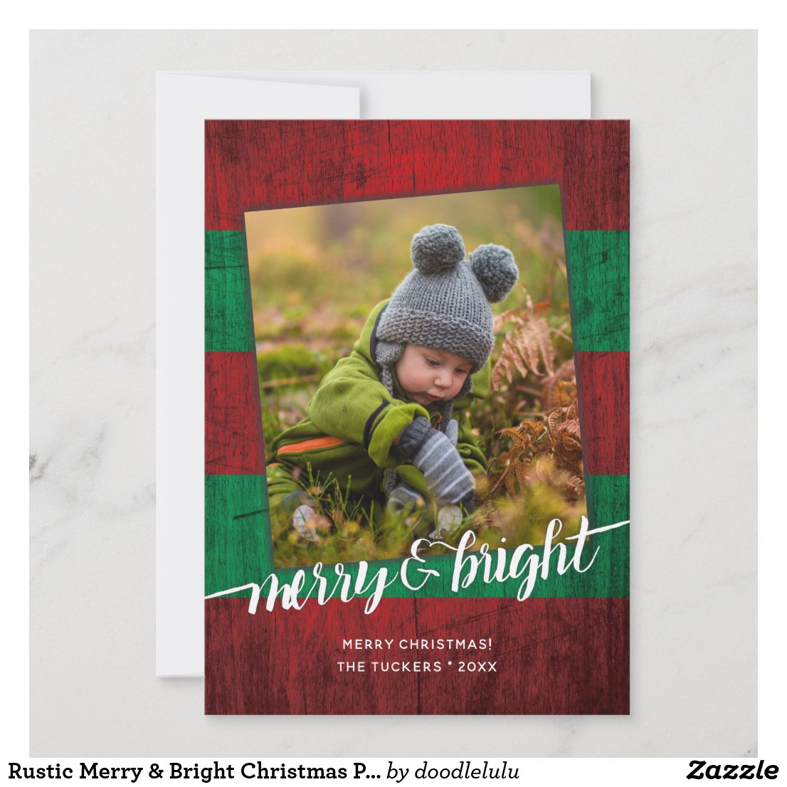 Rustic Merry & Bright Christmas Photo Wood Holiday Card