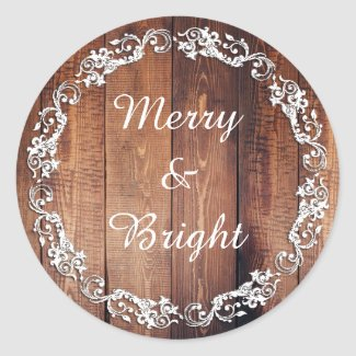 "Rustic ""Merry & Bright"" Holiday Christmas Stickers"