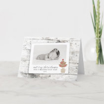 Rustic Merry Christmas Blessed New Year Photo Holiday Card