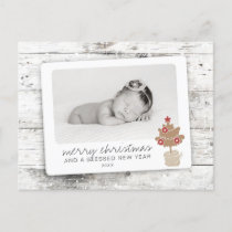 Rustic Merry Christmas Blessed New Year Photo Holiday Postcard