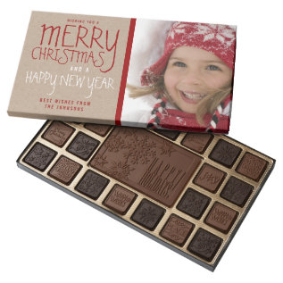 Rustic Merry Christmas | Holiday Box Of Chocolates at Zazzle