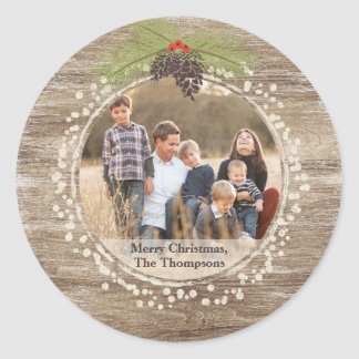 Rustic Merry Christmas Pine Branch, Photo, Wood Classic Round Sticker