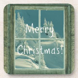 Rustic Merry Christmas Snow Window Drink Coaster