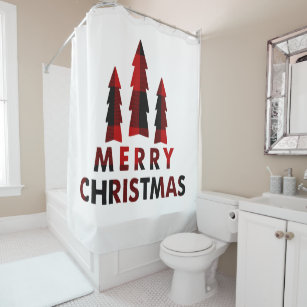 Rustic Merry Christmas Trees Red Buffalo Plaid Shower Curtain
