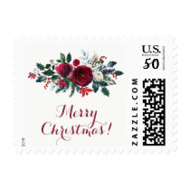 Rustic Merry Christmas winter flowers bouquet Postage