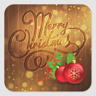 Rustic Merry Christmas Wooden Planks Pattern Square Sticker